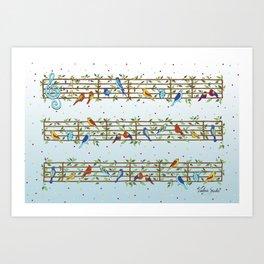 Singing Doodle Birds Art Print