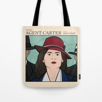 agent carter Tote Bags featuring Agent Carter by saintsandstorms
