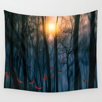 fall Wall Tapestries featuring Red feather dance  (colour option) by Viviana Gonzalez