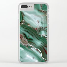 Luxury Malachite Marble Agate Clear iPhone Case