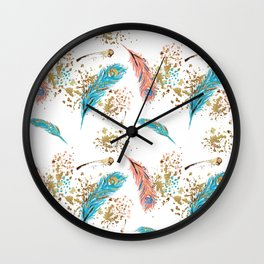 Golden Peacock Feather Pattern 14 Wall Clock