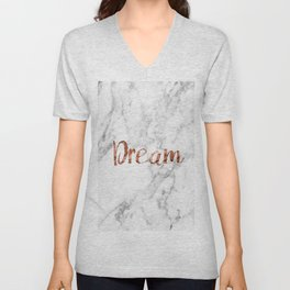 Rose gold marble dream Unisex V-Neck