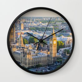 View of Big Ben and Houses of Parliament from London Eye | Europe UK City Urban Landscape Photography Wall Clock