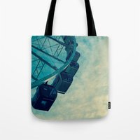 ferris wheel Tote Bags featuring Ferris Wheel by Tracy Wong
