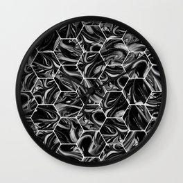 Hex & Swirl - Black and White Marble Pattern Wall Clock