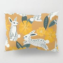 Bunnies & Blooms - Ochre & Teal Palette Pillow Sham