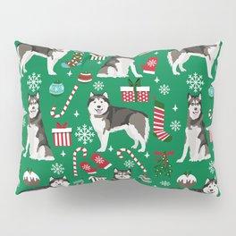 Alaskan Malamute dog christmas pattern candy canes christmas presents Pillow Sham