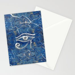Silver Egyptian Eye of Horus  on blue marble Stationery Cards