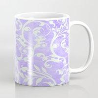 shabby chic Mugs featuring Shabby Chic purple damask by Miriam Hahn