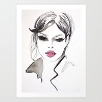 fashion illustration Art Prints featuring Fashion illustration by Colorshop