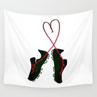 soccer Wall Tapestries featuring Soccer Love by Leah Flores