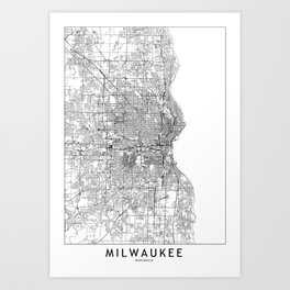 Milwaukee White Map Art Print