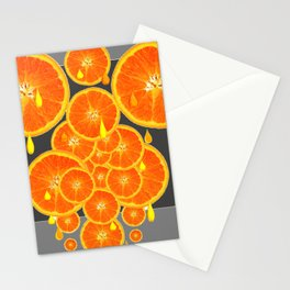 DRIPPING JUICY ORANGE SLICES ABSTRACT MODERN ART Stationery Cards