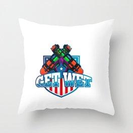 Awesome Water Gun Design - Get Wet Soaker Soaked Summertime Fun Throw Pillow