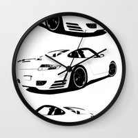 porsche Wall Clocks featuring Arctic Porsche by deadfish