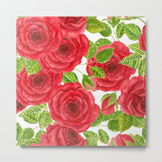 Red watercolor roses with leaves and buds pattern Metal Print