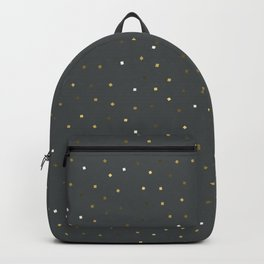 Simple Christmas seamless pattern Golden Confetti on Dark Grey Background Backpack