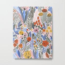 Floral Kingdom Plentiful Flowers Hand Drawn Plants Florals Pattern Metal Print