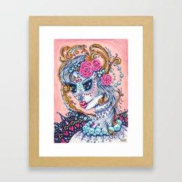 """""""Unforgettable"""" sugar skull portrait of a big eyed woman Framed Art Print"""