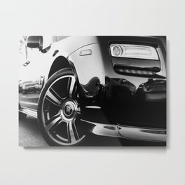 Rolls Rims // Black and White Luxury Super Car Photography Real Life Street Shots Metal Print