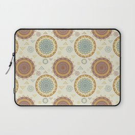 Bohemian pastel green orange vintage triangles mandala Laptop Sleeve