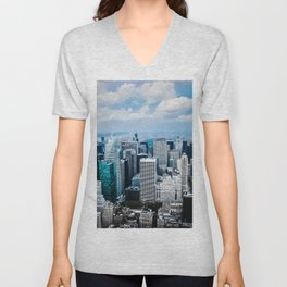 From New York to the Sky at the Manhattan Big Apple Dream Unisex V-Neck