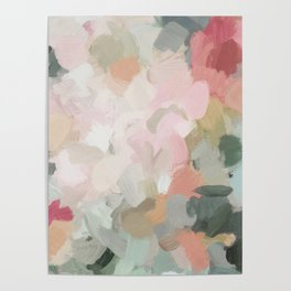 Forest Green Fuchsia Blush Pink Abstract Flower Spring Painting Art Poster