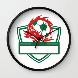 Red Dragon Soccer Ball Crest Wall Clock