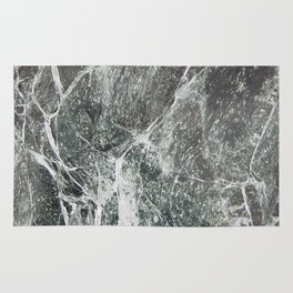 Black marble dark gray marble print with white vains real marble texture pattern natural rock Rug