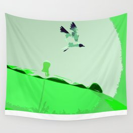 Beach Graphics No 2: Kelly Green Wall Tapestry