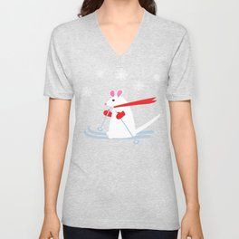 Christmas Mouse on Skis Unisex V-Neck