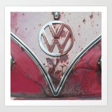 Pink Rusty VW Art Print