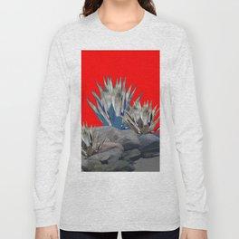 DECORATIVE  RED GREY DESERT AGAVE CACTUS Long Sleeve T-shirt