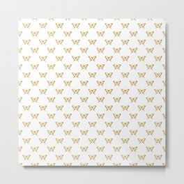 Metallic Gold Foil Butterflies on White Metal Print