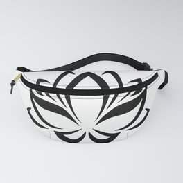 Black and White Lotus Flower Fanny Pack