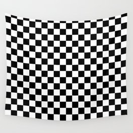 Black and White Checkerboard Pattern Wall Tapestry
