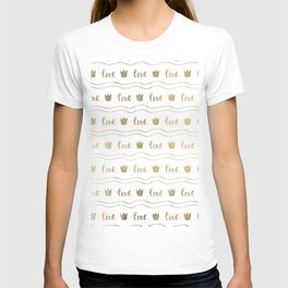 Modern faux gold crown waves stripes love typography T-shirt