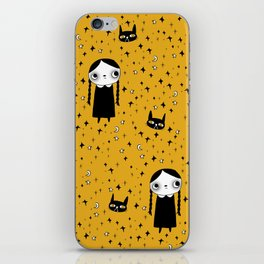 goth girl with her cat iPhone Skin