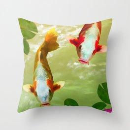Koi Carp Fish Throw Pillow