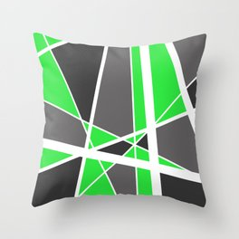 Triangles Stripes Mikado Design Geometric green Throw Pillow