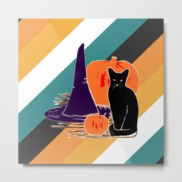 Witch Cat Pumpkin in Candy Corn Metal Print