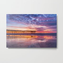 Low Tide Sunset Reflections Metal Print