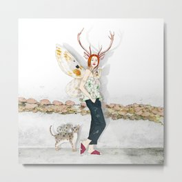 Deer Woman and Butterfly Cat Metal Print