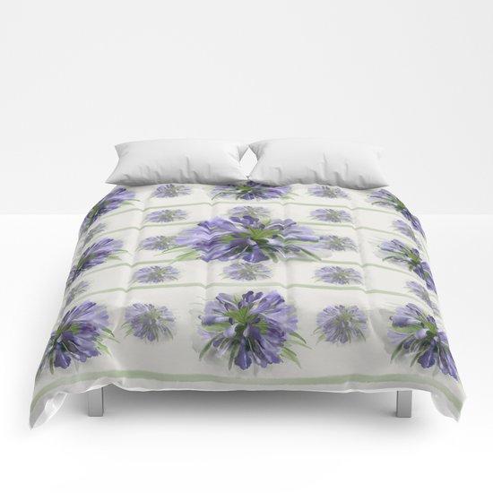 Blue purple flowers Comforters