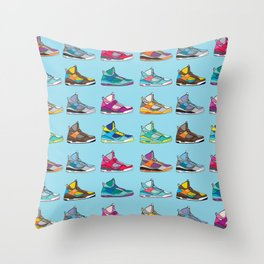 Colorful Sneaker set illustration blue illustration original pop art graphic print Throw Pillow