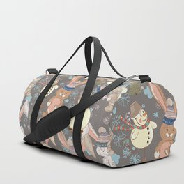 6)	Christmas cute illustration with bunny and snowmen. Winter design illustration Duffle Bag