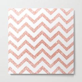 Faux Glitter Baby Pink Chevron Metal Print