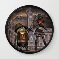 sci fi Wall Clocks featuring Steampunk Sci-Fi 2 by gypsykissphotography