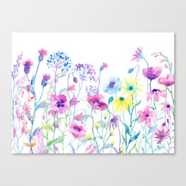 Watercolor Field of Pastel Canvas Print