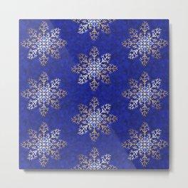 Primitive Gold Snowflakes on Royal Blue Metal Print